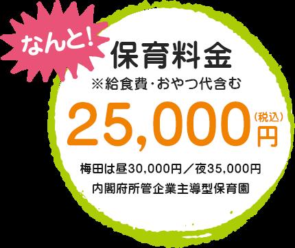 保育料金は月額25,000円というお安さを実現!